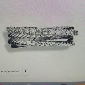 David Yurman Crossover Ring w Diamonds